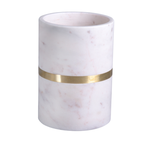 White Marble with Accent Gold Wine Chiller