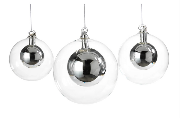 Silver Snow Ball Ornament- Large