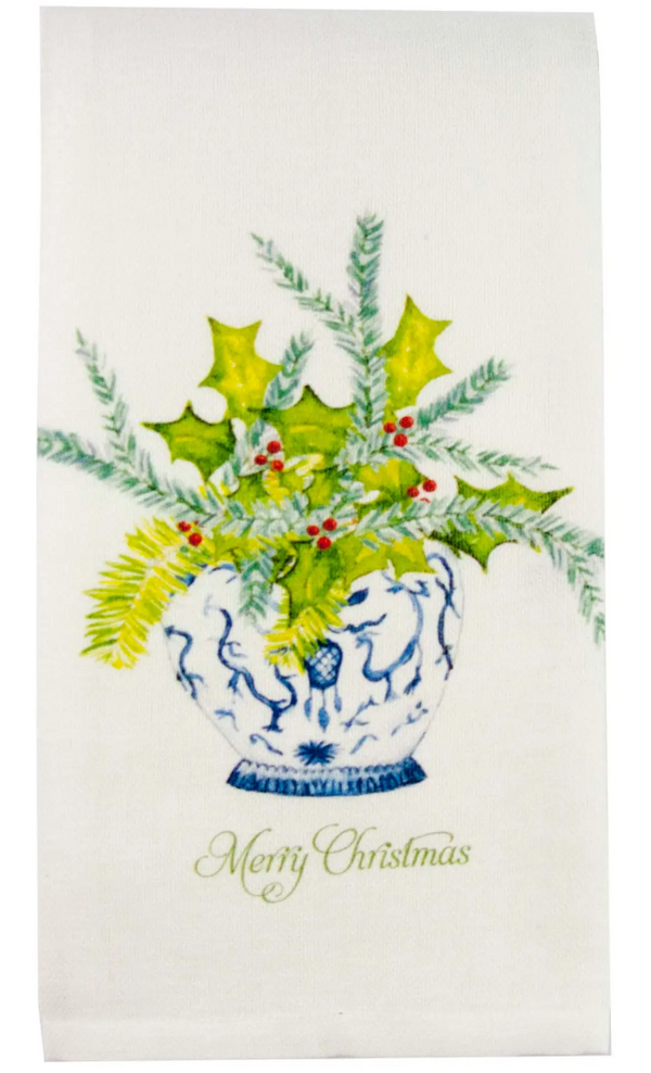 Ginger Jar with Greens and Merry Christmas Dishtowel