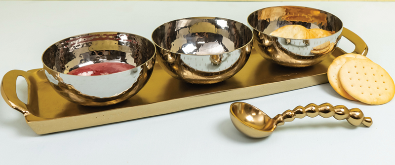 Gold Tray with 3 Textured Silver Bowls