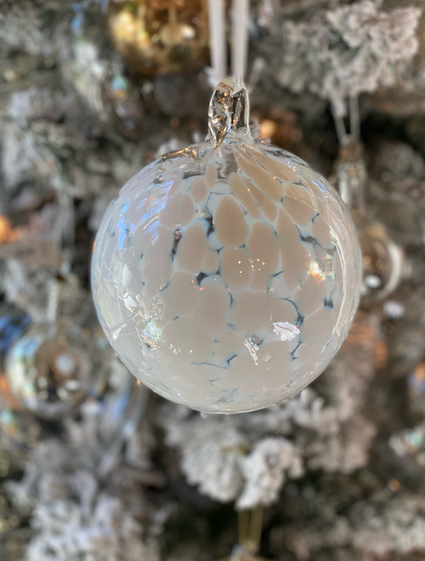 Speckled Glass Ornament- White