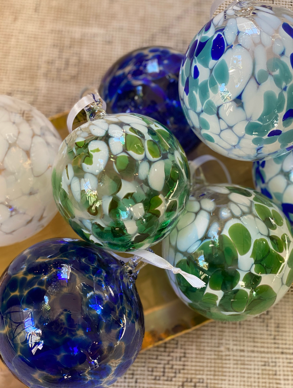Speckled Glass Ornament- Turquoise and Royal Blue