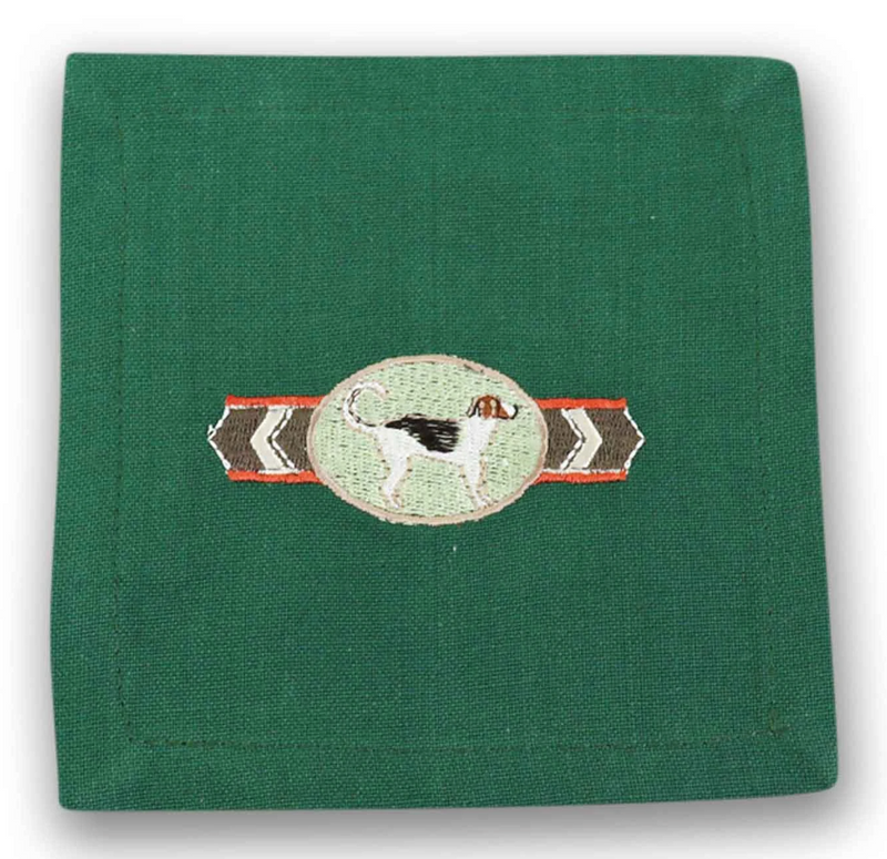 Hound Embroidered Cocktail Napkin (Set of 6)