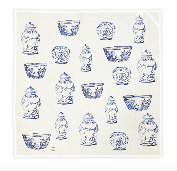 Blue and White Jars Square Bread Towel