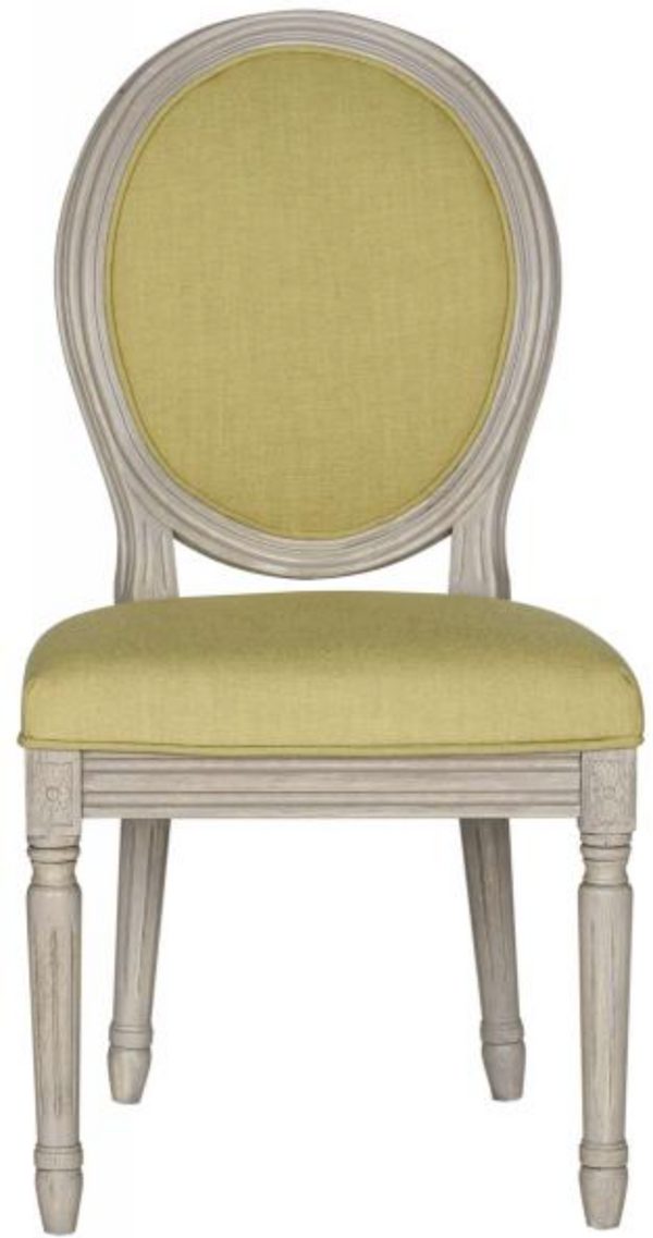 French Linen Oval Dining Chair- Green (Set of two)