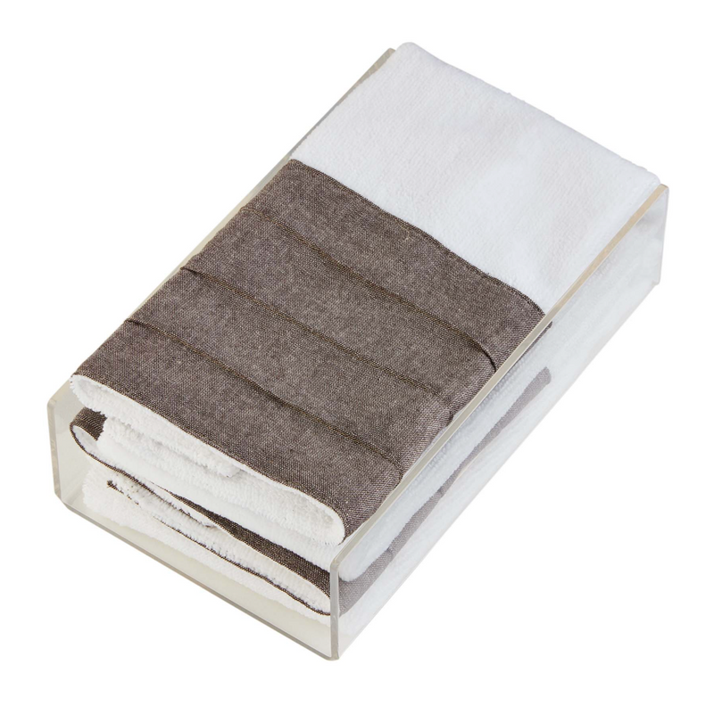Taupe & White Hand Towels with Acrylic Holder