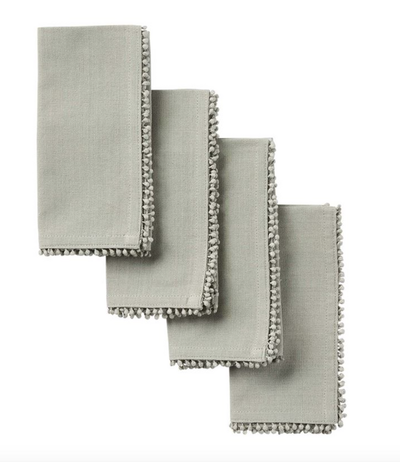 Gray Pom Trim Dinner Napkin (Set of 4)