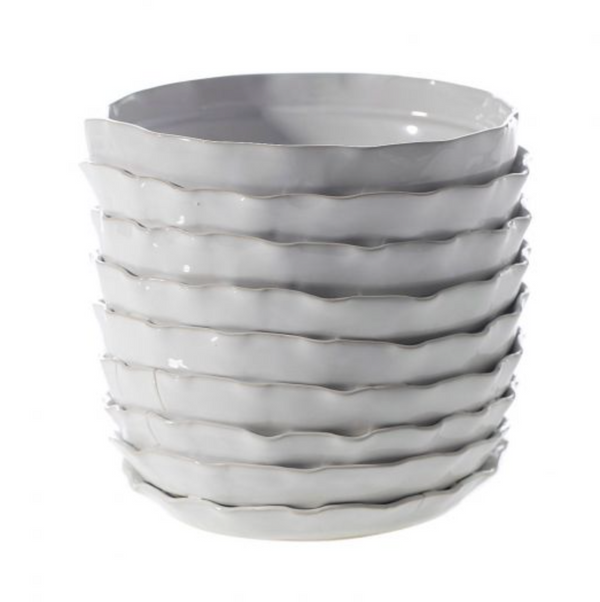 Scalloped White Pot