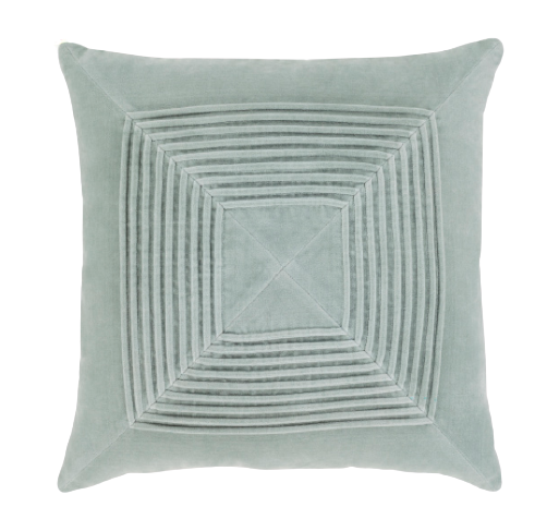 Pleated Velvet Pillow - Seafoam