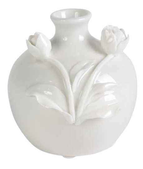 White Ceramic Vase - Tulip