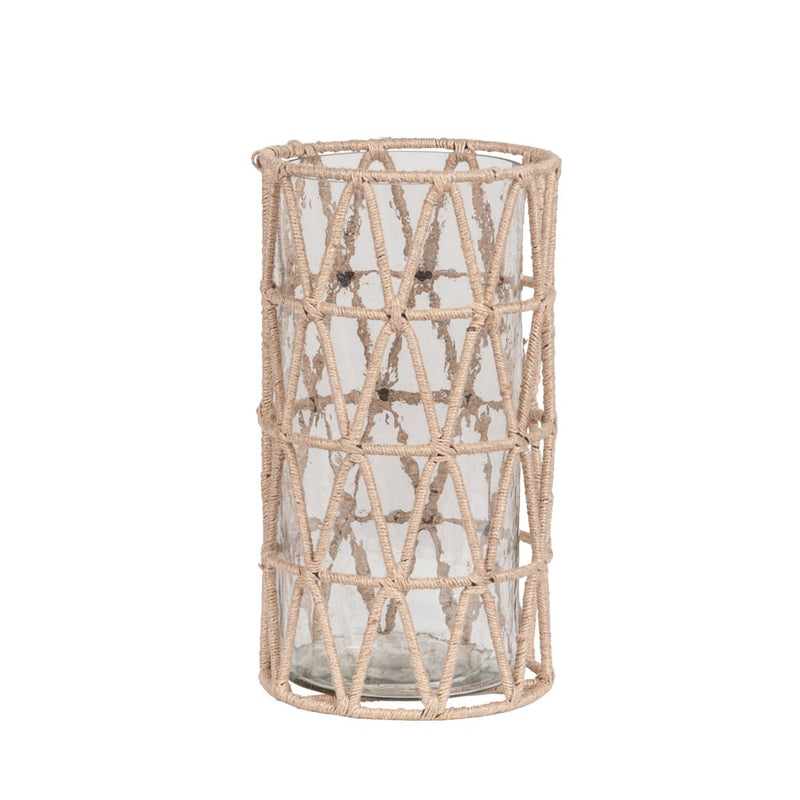 Natural Jute Vase with Hammered Glass - Large