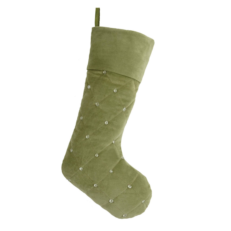Green Rhinestones Quilted Stocking