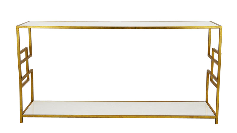 Gold Open Shelf Console Table