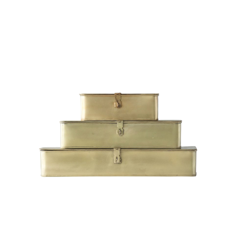 Brass Decorative Boxes - Set of 3