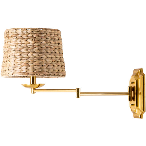 Rattan and Gold Sconce