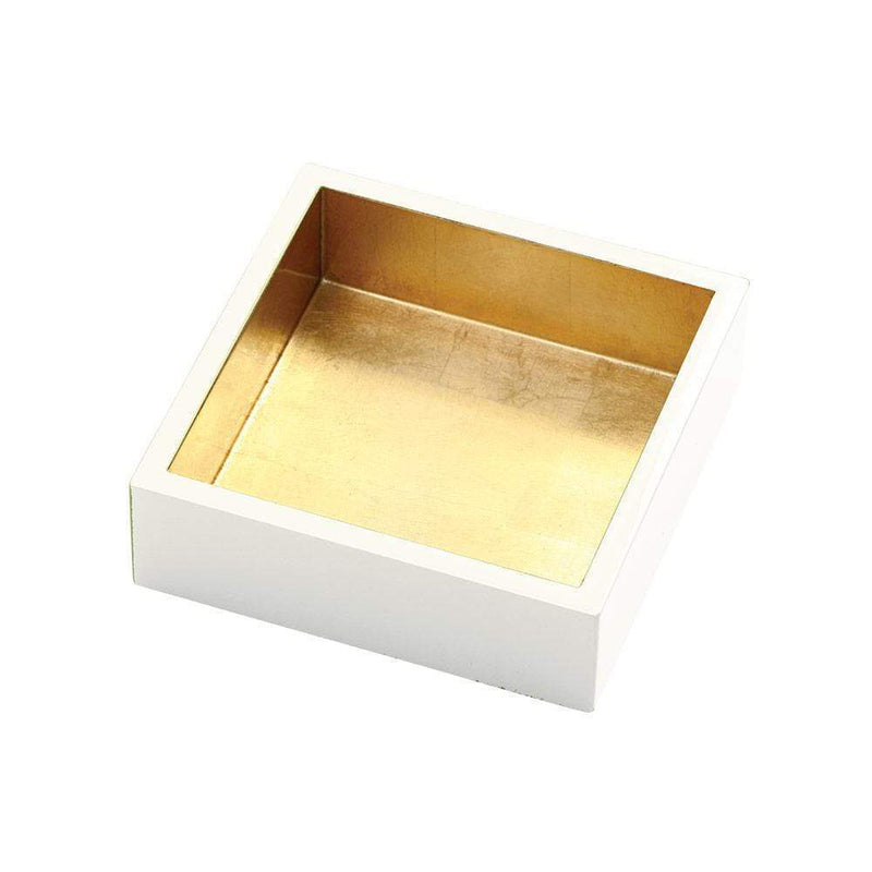 Lacquer Cocktail Napkin Holder in Ivory & Gold - 1 Each