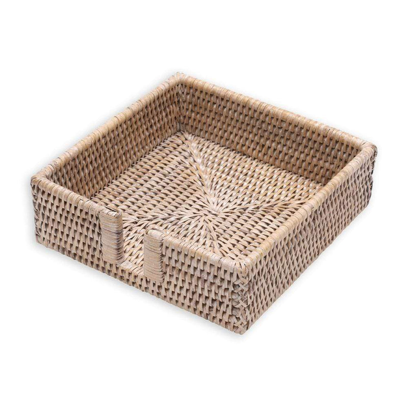 Rattan Napkin Holder in White Natural