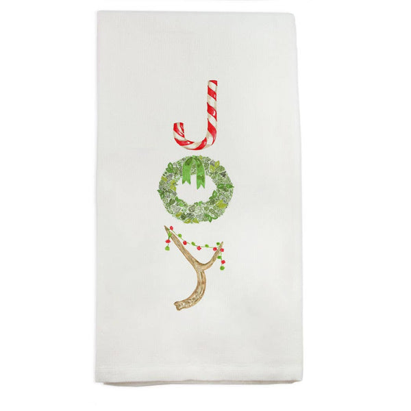 Joy with Candy Cane Dishtowel