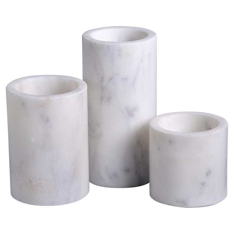 Modern Classic White Cylinder Marble Votive Candle Holder - Set of 3
