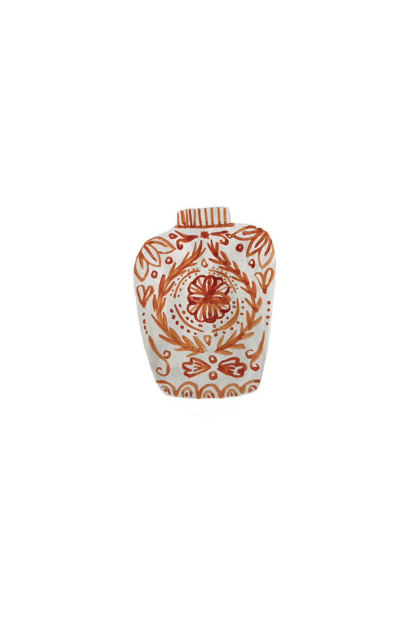 Red Chinoiserie Jar Stationery