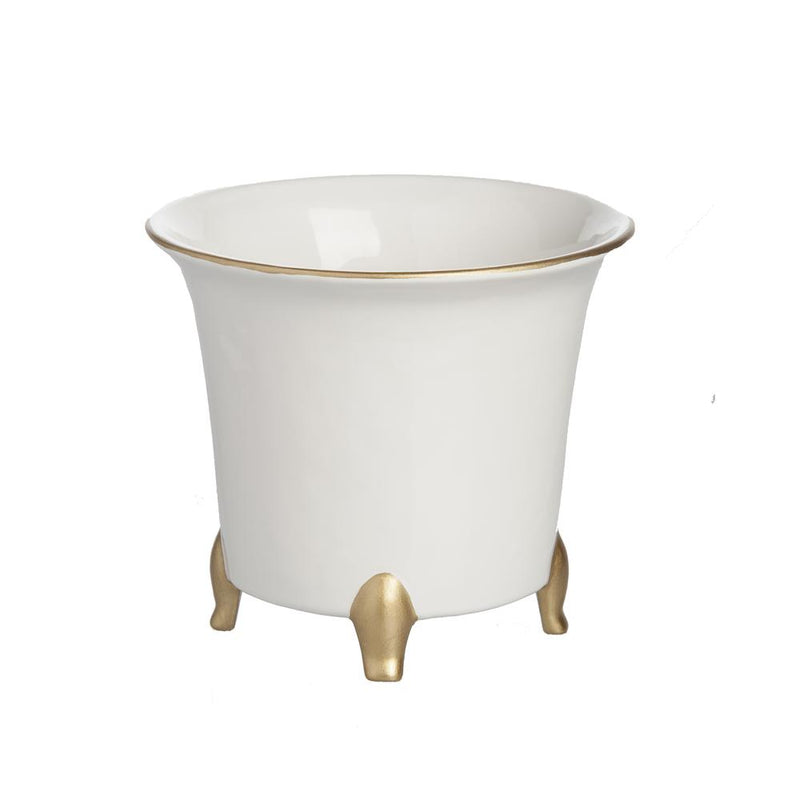 Cachepot, White and Gold