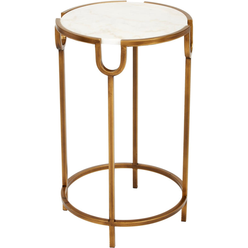 GOLD ACCENT TABLE WITH WHITE MARBLE TOP
