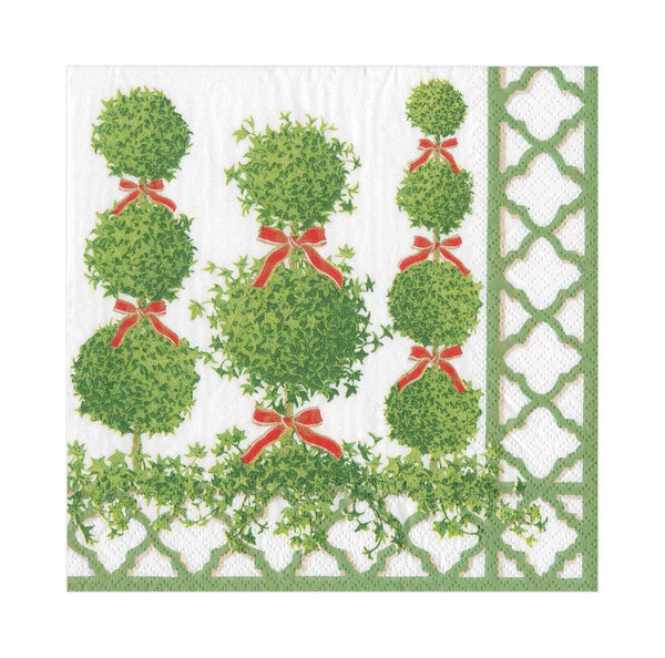 Topiaries Paper Luncheon Napkins in Green Border (20 Per Package)