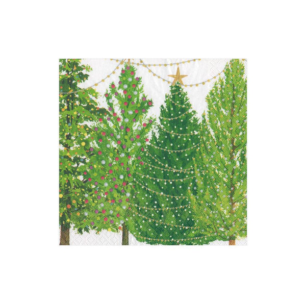 Christmas Trees with Lights Paper Cocktail Napkins (20 Per Package)