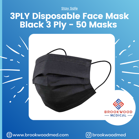 Facemask Black 3 ply