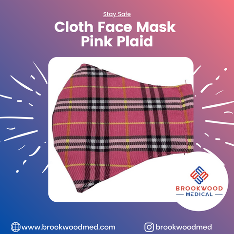 Cloth Face Mask Pink Plaid