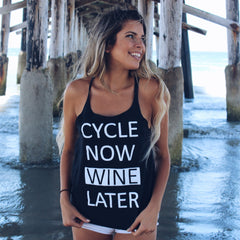 Clothing By Owl Tank Top Cycle Now Wine Later