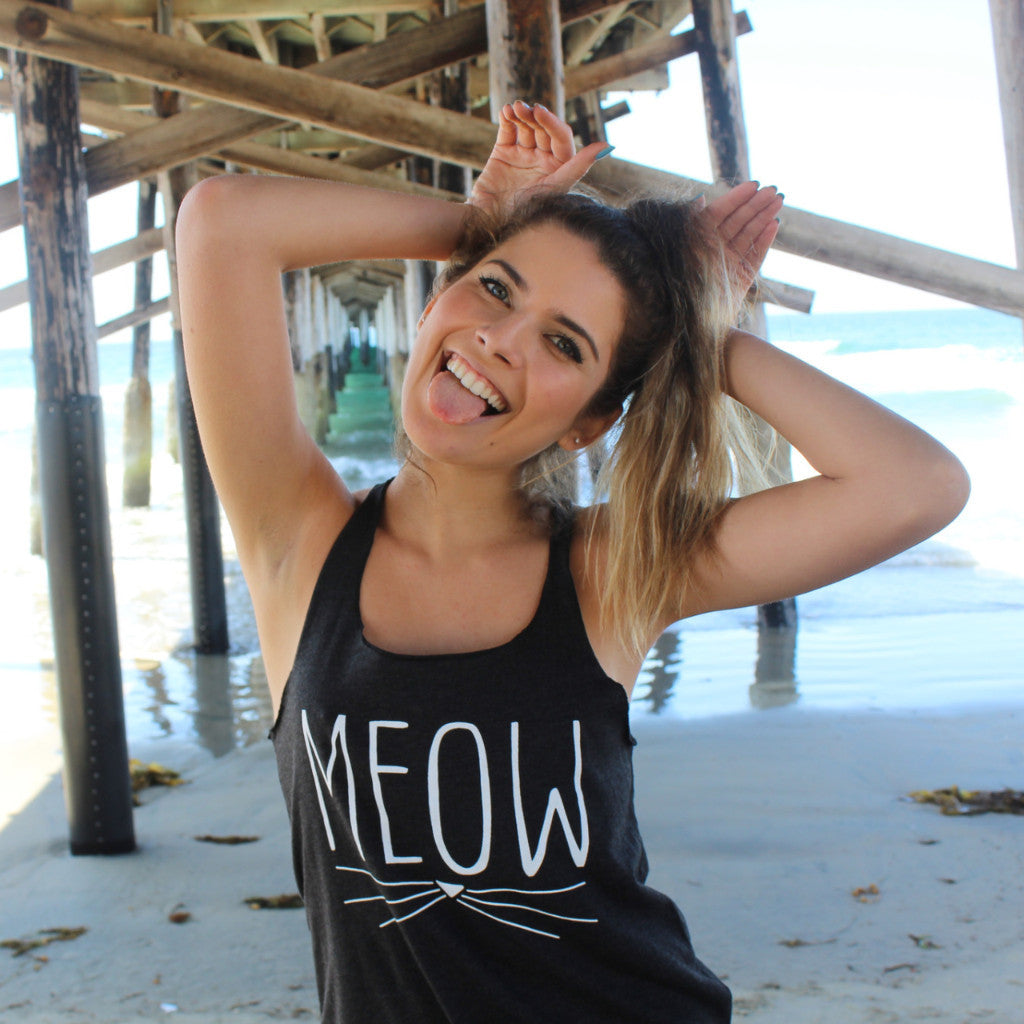 Clothing By OWL Tank Top Meow
