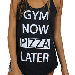 Clothing By Owl Tank Top Gym Now Pizza Later