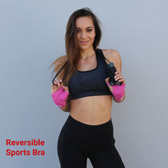 Slay text on a reversible racerback sports bra