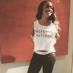 Bachelorette Abc star rachel Lindsay in Wifey material shirt