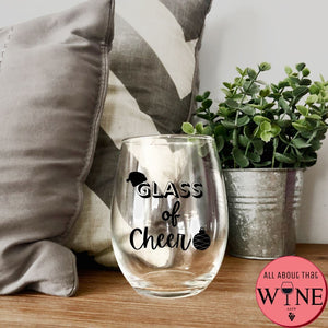 Glass Of Cheer Stemless Glass -Please Select Vinyl Color-