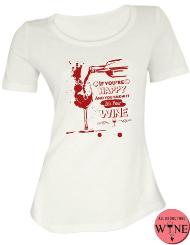 If You're Happy - Ladies T-shirt S White with red