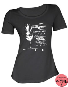 If You're Happy - Ladies T-shirt S Black with white
