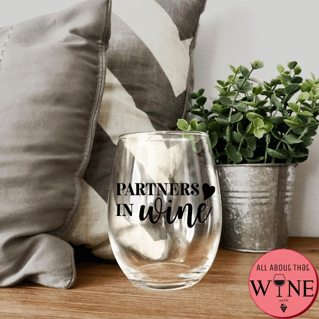 Partners In Wine Stemless Glass -Please Select Vinyl Color-