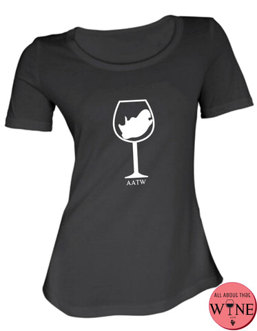 SA Wine Glass S Black with white