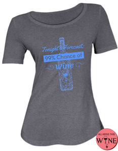 Tonight's Forecast - Ladies T-shirt S Charcoal melange with blue