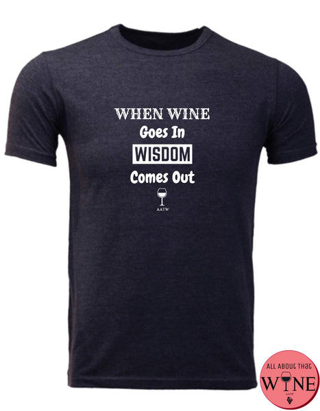 When Wine Goes In - Men's T-shirt S Charcoal melange with white
