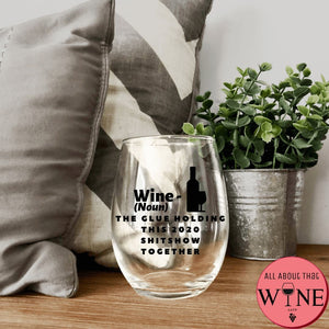 Wine (Noun) Stemless Glass -Please Select Vinyl Color-