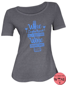 Wine Understands - Ladies T-shirt S Charcoal melange with blue