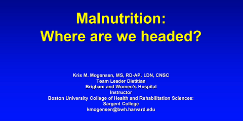 2017 Symposium session: Malnutrition: Where Are We Headed? Member Price