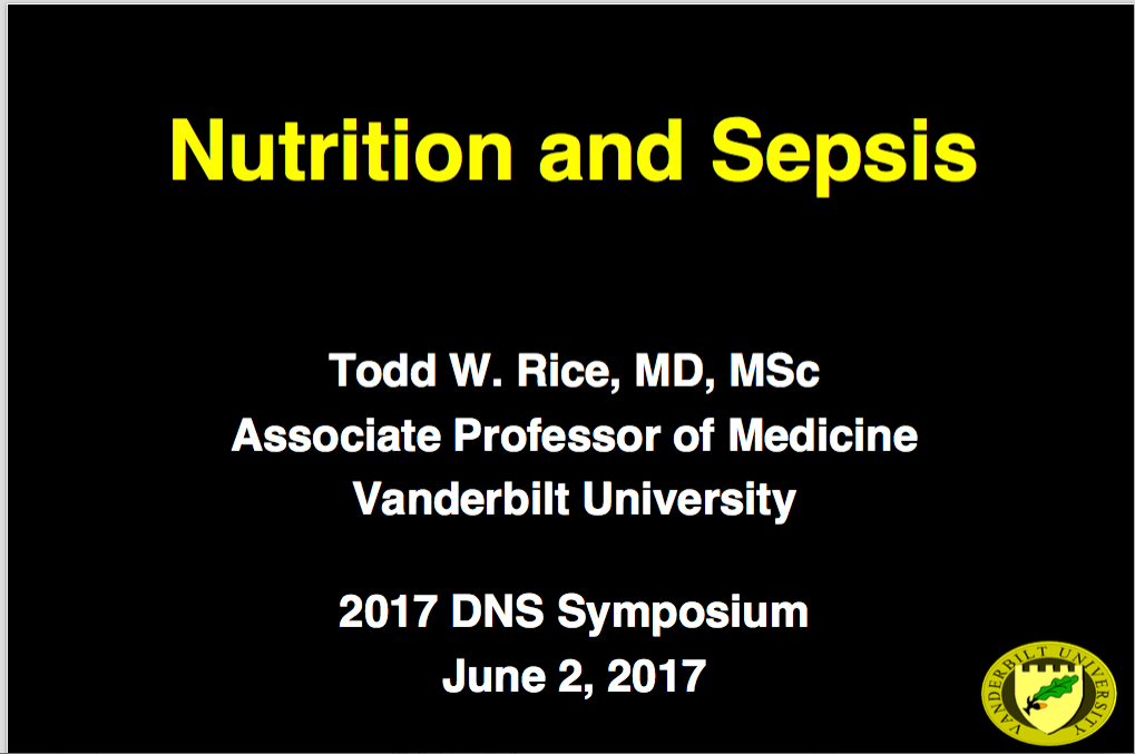 2017 Symposium session: Nutrition and Sepsis- Non-member price
