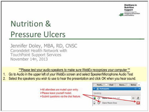 The Role of Nutrition in Pressure Ulcer Management Webinar - Non-member price