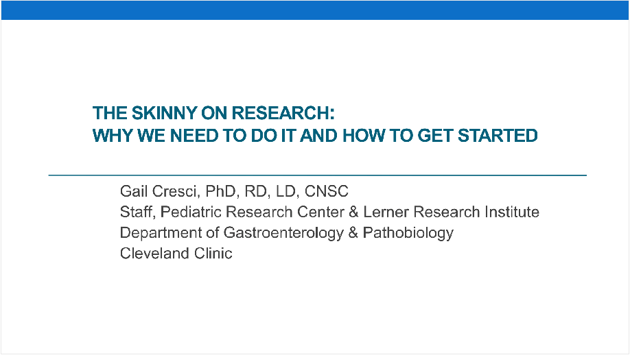 2017 Symposium session: The Skinny on Research: Why We Need to Do It and How to Get Started- Member Price