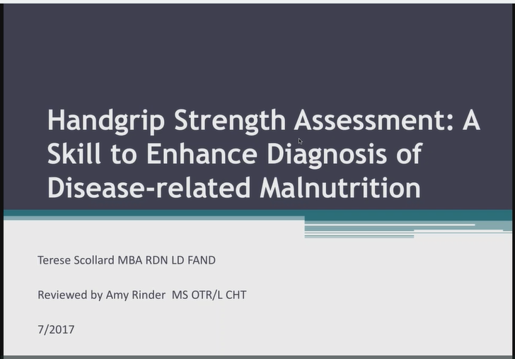 Handgrip Strength Assessment: A Skill to Enhance the Diagnosis of Disease Related Malnutrition - Institutional Price