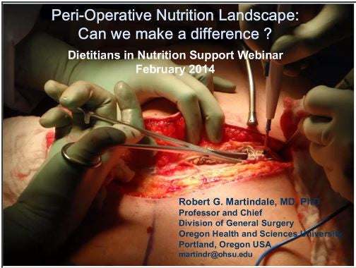 The Peri-Operative Nutritional Landscape: Can We Make a Difference? Webinar